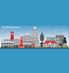 visakhapatnam skyline with gray buildings and vector image vector image