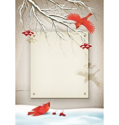 Winter Landscape with Birds vector image