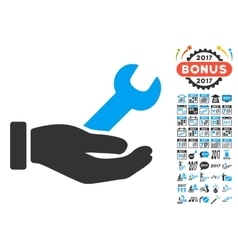 Wrench service hand icon with 2017 year bonus vector