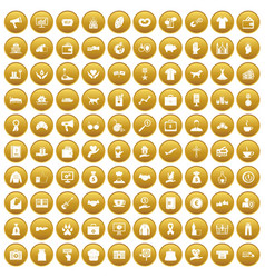 100 charity icons set gold vector