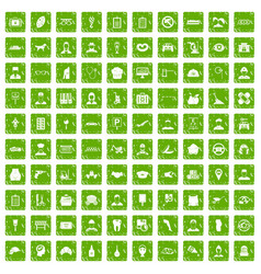 100 favorite work icons set grunge green vector image vector image
