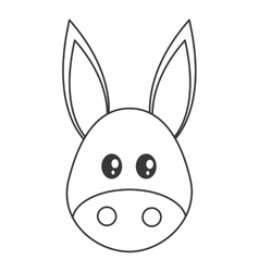 Cute donkey cartoon icon vector