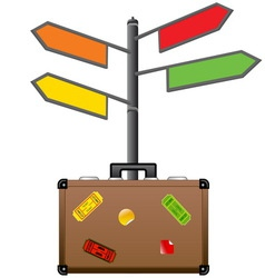 Street sign and travel suitcase tourism concept vector