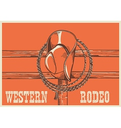 American west cowboy hat and lasso on wood fence vector