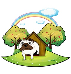 A dog inside a doghouse vector