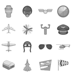 Aviation icons set monochrome style vector