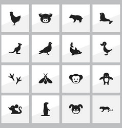 Set of 16 editable zoology icons includes symbols vector