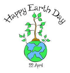 earth day with world and tree style vector image