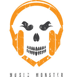 Negative space grunge concept with skull monster vector