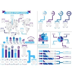 Infographic demographics 4 purple vector