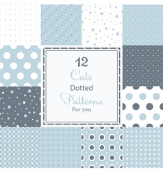 Cute different dotted seamless patterns vector
