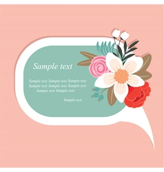 speech bubble with beautiful flowers vector image