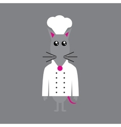 Flat icon on gray background mouse chef vector