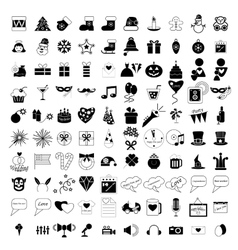 100 holidays and party icons vector