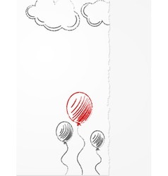 Pencil balloons sketch vector