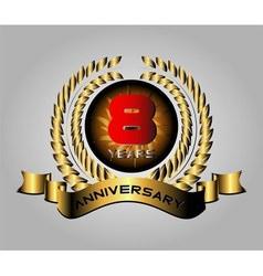 8 year anniversary golden label 8th anniversary vector