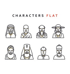 Isolated characters in flat style vector
