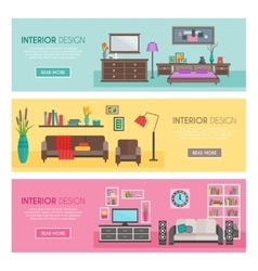 Flat furniture banner set vector