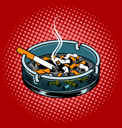Ashtray with cigarette butts pop art style vector