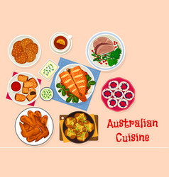 Australian cuisine traditional food icon design vector