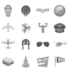Aviation icons set monochrome style vector