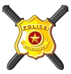 Badge and batons police vector