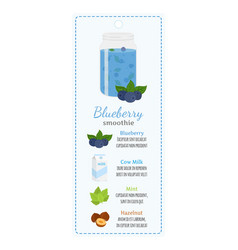 Blueberry smoothie on label recipe of detox drink vector