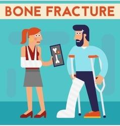 Bone fracture character cartoon vector