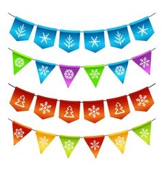 Christmas bunting flags vector image vector image