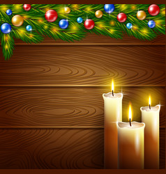 Christmas candles and wooden background vector image vector image