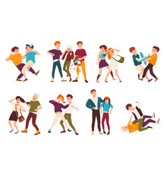 collection of fighting children conflicts between vector image vector image