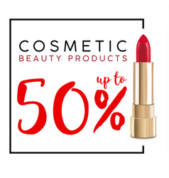 cosmetics sale banner with lipstick fashion sale vector image