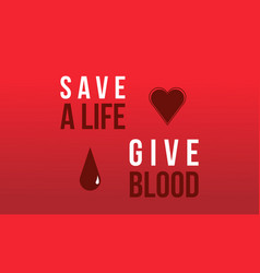 Donate blood day red background design vector
