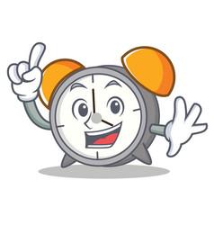 finger alarm clock mascot cartoon vector image