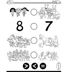 Greater less or equal game coloring page vector