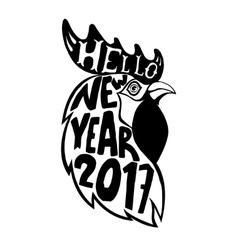 Hand drawn rooster head with lettering hello new vector