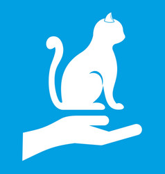 Hand holding a cat icon white vector