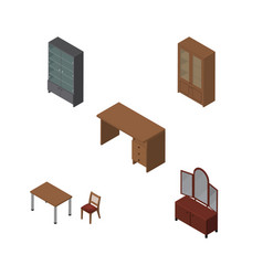 Isometric furnishing set of sideboard cabinet vector