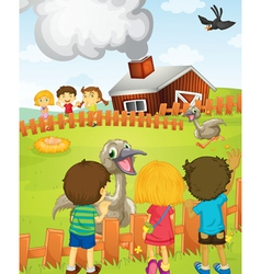 Kids at the farm vector