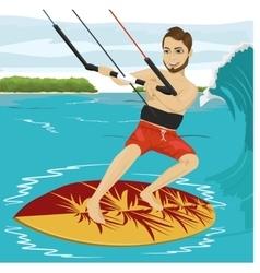 Male kiteboarder enjoys surfing waves vector
