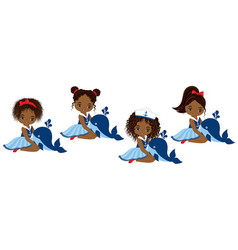 Nautical little african american girls vector