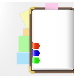 opened dairy or notepad with bookmarks vector image