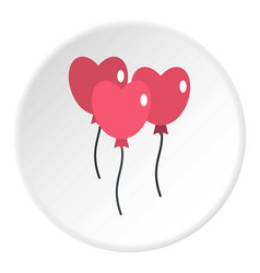 Pink balloons in shape of heart icon circle vector