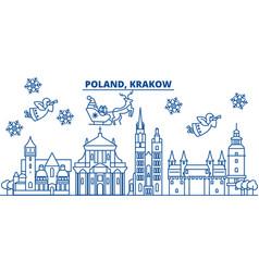 Poland krakow winter city skyline merry vector