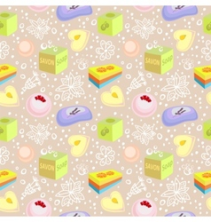 Seamless pattern with bath soaps bombs flowers vector