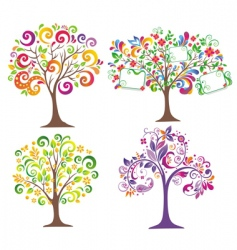 set of beautiful trees vector image vector image