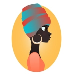 Silhouette of african girl in profile vector