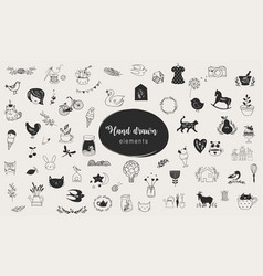 simple hand-drawn elements collection vector image