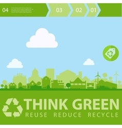 Think Green with small town vector image