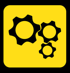 yellow black sign - three cogwheel icon vector image vector image